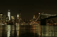BROOKLYN, NEW YORK - MAY 7, 2012: Timelapse of Manhattan skyline at night Stock Footage