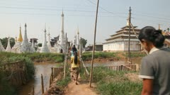 Bridge at the Ywama pagoda Stock Footage