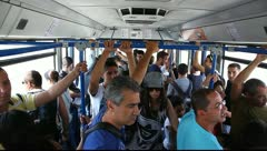 Israeli tourists in Bourgas Airport bus, Bulgaria. Stock Footage