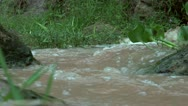 Stock Video Footage of Super Slow Motion Water looking up a stream in full flood