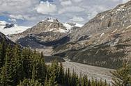 Stock Photo of Lake Peyto glacier rock rubble mountain vibrant