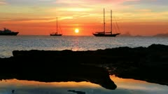 Ibiza sea sunset view from Formentera Balearic islands mediterranean sea Stock Footage