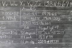 Chalk board grade 6 pioneer school education Stock Photos