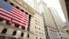 New York Stock Exchange NYSE Wall Street pan 30p Stock Footage
