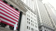 New York Stock Exchange NYSE Wall Street pan 24p Stock Footage