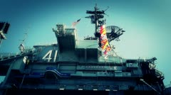 San Diego US Naval Base USS Midway Carrier 21 stylized Stock Footage