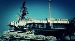 San Diego US Naval Base USS Midway Carrier 23 stylized Stock Footage