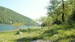 water reservoir in italy - stock footage