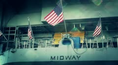 San Diego US Naval Base USS Midway Carrier 30 stylized Stock Footage
