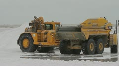 Bulldozers on salt lake Stock Footage