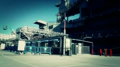 San Diego US Naval Base USS Midway Carrier 33 museum entrance stylized Stock Footage