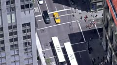 Looking Down on Cabs and Buses Stock Footage