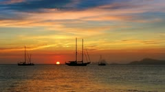Ibiza sea sunset view from Formentera Balearic islands mediterranean sea - stock footage