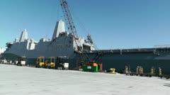 San Diego US Naval Base USS San Diego LPD22 battleship 07 Stock Footage