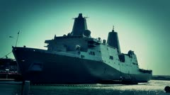 San Diego US Naval Base USS San Diego LPD22 battleship 08 stylized Stock Footage