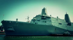 San Diego US Naval Base USS San Diego LPD22 battleship 11 stylized Stock Footage