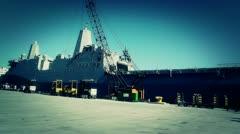 San Diego US Naval Base USS San Diego LPD22 battleship 14 stylized Stock Footage