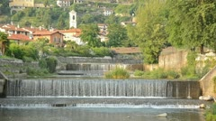 Weir in a river Stock Footage