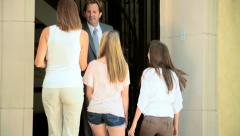 Family Arriving to View Possible House Buy - stock footage