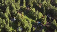 Stock Video Footage of Houses in Forested Neighborhood - Aerial Circling Perspective