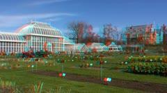 Stereoscopic 3D of Helsinki botanic garden 2 (combo 1080p) - stock footage