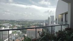 View on Singapore from balcony Stock Footage