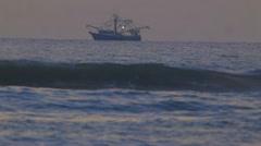 Fishing boat at Sunrise, Ormond Beach, Florida Stock Footage
