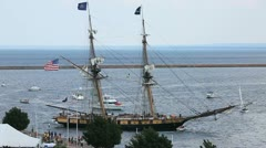 Tall Ship Docks in Harbor Stock Footage