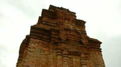Stock Video Footage of Tilt down Thap Poshanu Cham Tower Ancient temple in Vietnam