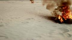 Burning wreckage during hostilities Stock Footage