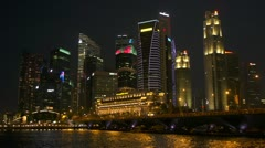 Time-lapase of Singapore at Night, low shot. Stock Footage