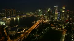 Very wide angle time-lapse of Singapore city skyline at night. Stock Footage