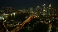 Stock Video Footage of Very wide angle time-lapse of Singapore city skyline at night.