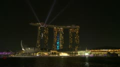 Marina bay and Singapore at night. Time Lapse Stock Footage