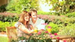 Contented Couple Sitting Home Garden Stock Footage