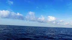 Saling in deep wavy blue mediterranean sea Stock Footage