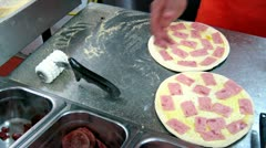 Pizza Preperation, Dough, Sauce, Cheese, Food Stock Footage