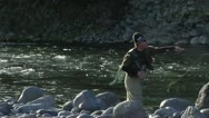 Fly fishing casting Stock Footage