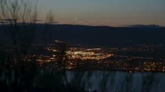 Moonrise motion time lapse over Kelowna - stock footage