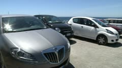 Parking at beach. Stock Footage