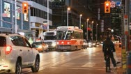 Streetcar Trams At Dundas And Yonge Street Night In Toronto  Stock Footage