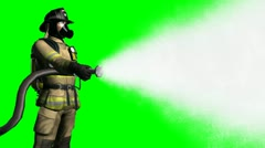 Stock Video Footage of Fireman using hose  green screen