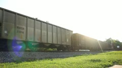 Tail end of train passing by Stock Footage