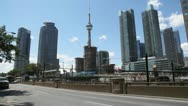 Queens Quay West Toronto Skyline And CN Tower Stock Footage