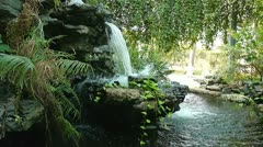 Stock Video Footage of Waterfall in Chinese rockery garden