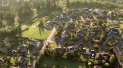 Wealthy Neighborhood on Top of Hill - Aerial Perspective Stock Footage