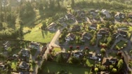 Stock Video Footage of Wealthy Neighborhood on Top of Hill - Aerial Perspective