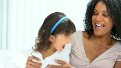 Pre School Child Giggling Young Mom Stock Footage