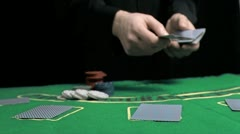 Man dealing the cards in slow motion Stock Footage