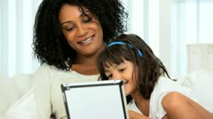 African American Mother Child Wireless Tablet Stock Footage